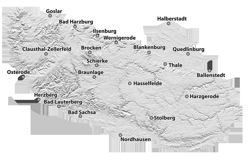 Goslar Karte.Der Harz Und Seine Regionen Zum Entdecken Und Wandern